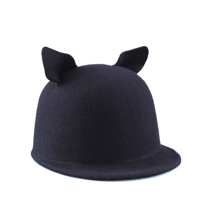 Black Wool Cat Ears Hat