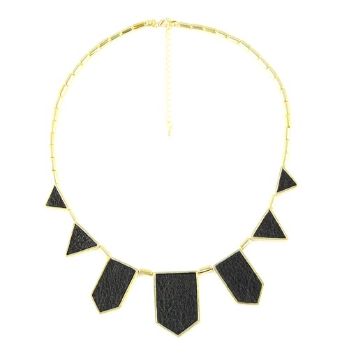 Black and Gold Leather Geo Necklace