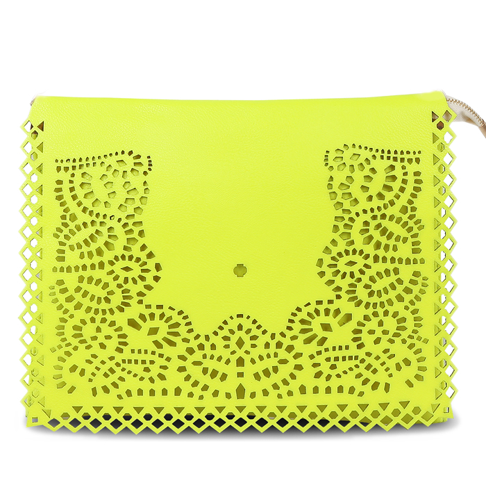 Neon Yellow Laser Cut Clutch