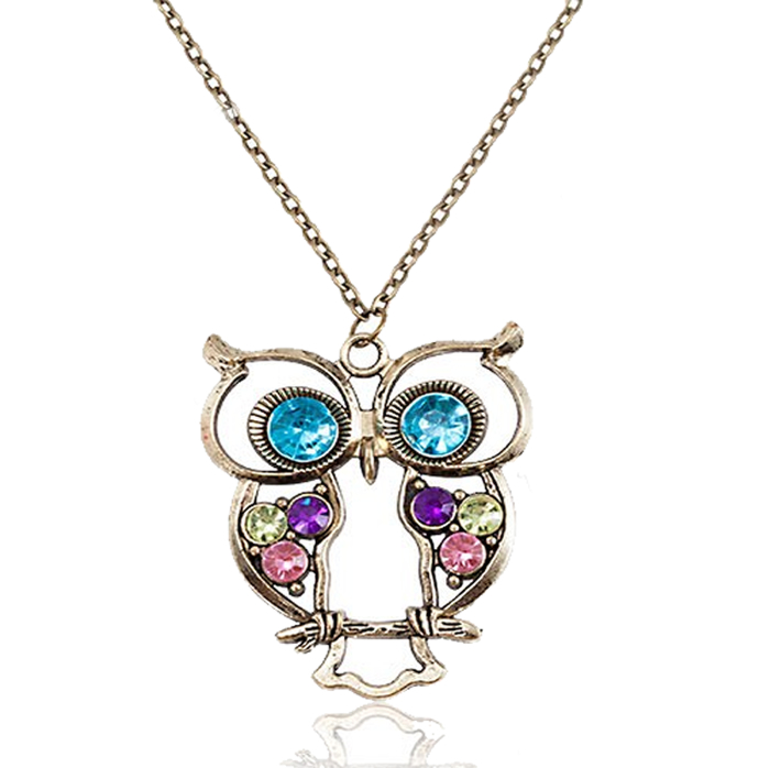 Vintage Owl Rhinestone Necklace