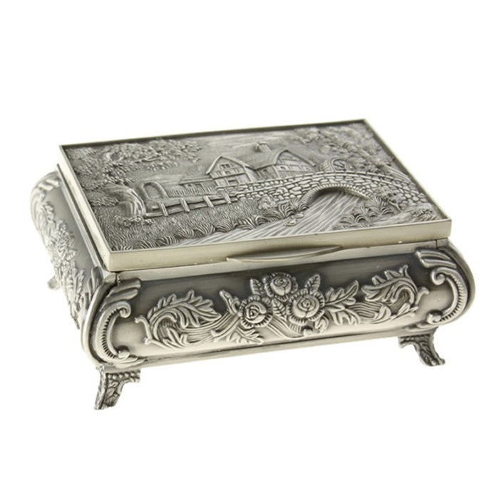 Vintage Carved Tibetan Silver River Design Jewellery Box