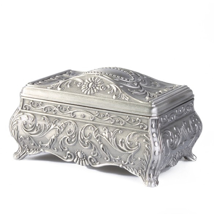 Vintage Carved Tibetan Silver Rose Design Jewellery Box