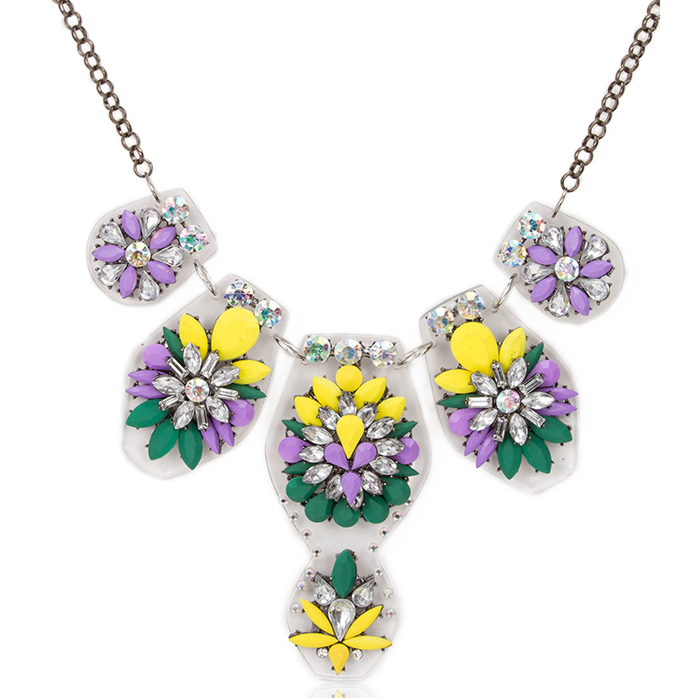 Green & Purple Statement Necklace